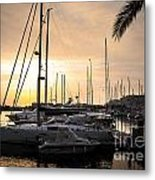Yachts At Sunset Metal Print by Carlos Caetano