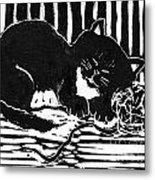 Yarn Cat  Block Print Metal Print by Ellen Miffitt