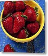 Yellow Bowl Of Strawberries Metal Print
