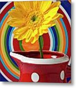 Yellow Daisy In Red Pitcher Metal Print by Garry Gay