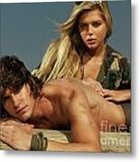 Young Beautiful Couple At The Beach Metal Print