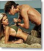 Young Couple On The Beach Metal Print by Oleksiy Maksymenko