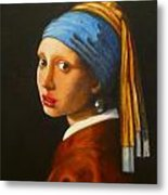 Young Woman With Pearl Earring Metal Print