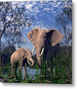 Baby Elepant An Mother At A Pond Metal Print
