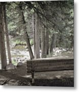 Bench By The Stream Metal Print
