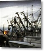 Boats With Sprays Of Light Metal Print