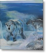 Carved Ice Polar Bears Metal Print