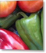 Fresh Peppers And Tomatoes Metal Print