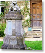 Little Angel With A Dog In The Montresor Garden In The Loire Valley Fr Metal Print
