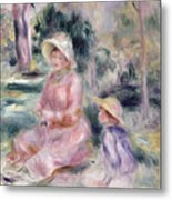 Madame Renoir And Her Son Pierre Metal Print by Pierre Auguste Renoir