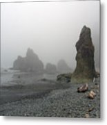 Pillar In Fog Metal Print