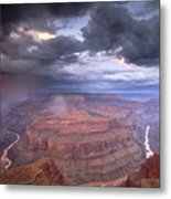 A Monsoon Storm In The Grand Canyon Metal Print by David Edwards