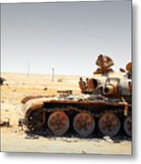 A T-80 Tank Destroyed By Nato Forces Metal Print