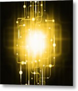 Abstract Circuit Board Lighting Effect  Metal Print by Setsiri Silapasuwanchai