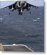 An Av-8b Harrier II Prepares To Land Metal Print