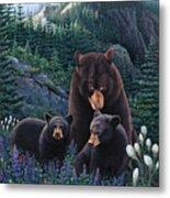 Bears On Snow Peak Painting Metal Print