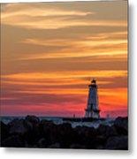 Beautiful Ludington Lighthouse Sunset Metal Print