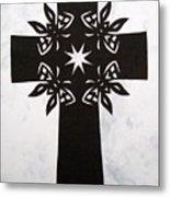 Black Butterfly-cross Metal Print