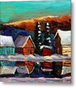 Canadian Art Laurentian Landscape Quebec Winter Scene Metal Print