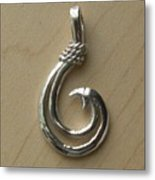 Circle Hook Pendant Metal Print