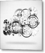Cloud Made By Gears Wheels  Metal Print