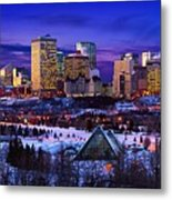 Edmonton Winter Skyline Metal Print