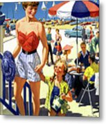 England Weston Super Mare Vintage Travel Poster Metal Print