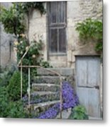 French Staircase With Flowers Metal Print