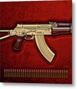 Gold A K S-74 U Assault Rifle With 5.45x39 Rounds Over Red Velvet   Metal Print