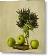 Green Apples And Blue Thistles Metal Print by Priska Wettstein