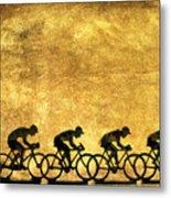 Illustration Of Cyclists Metal Print by Bernard Jaubert