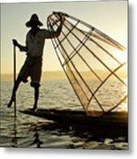 Inle Lake Fisherman Metal Print