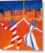 Israel And Usa Dancing Metal Print by Jane  Simonson