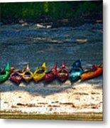 Kayaks In A Row Metal Print