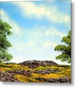 Lava Rock And Flowers Metal Print