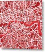London Map Art Red Metal Print by Michael Tompsett