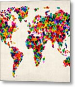 Love Hearts Map Of The World Map Metal Print