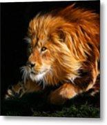 Male Lion Fractal Metal Print by Julie L Hoddinott