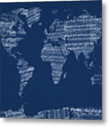Map Of The World Map From Old Sheet Music Metal Print by Michael Tompsett