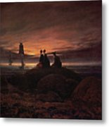 Moon Rising Over The Sea Metal Print