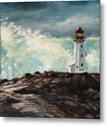 Peggy's Cove Lighthouse Hurricane Metal Print