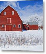 Red Barn, Winter, Grande Pointe Metal Print