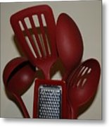 Red Kitchen Utencils Metal Print