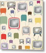 retro TV pattern  Metal Print by Setsiri Silapasuwanchai