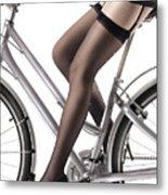 Sexy Woman Riding A Bike Metal Print by Oleksiy Maksymenko