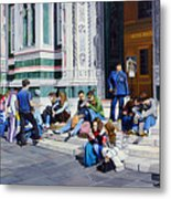 Sitting On The Steps Of The Duomo Metal Print
