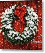 Snowy Christmas Wreath Card Metal Print