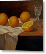 Study Of Oranges Metal Print