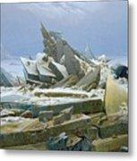 The Polar Sea Metal Print by Caspar David Friedrich