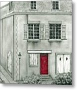 The Red French Door Metal Print